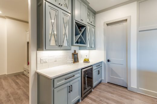 clean sky blue kitchen pantry built by wollongong carpentry